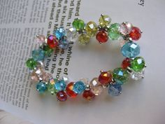 Colorful Crystal Stretch Bracelet by GoldCatJewelry on Etsy, $5.00