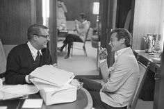 Tony Curtis visiting Cary Grant on the set of That Touch of Mink, 1961.