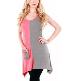 Love this Coral & Gray Color Block Sidetail Tunic by Lily on #zulily! #zulilyfinds