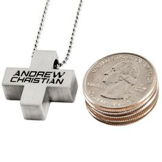 Andrew Christian Sport Cross Necklace in Silver