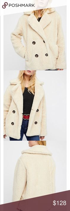 Free People teddy peacoat New with tags! Size small  Color oatmeal Sold out everywhere! Free People Jackets & Coats Pea Coats