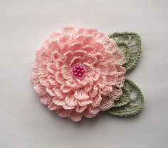 pink crochet flower brooch pink crochet brooch by SuzieSue1972, £12.50