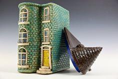 Teal Row House--Washington DC Row House Series // Ceramic Sculpture // Architectural Sculpture // Canister // Ceramic Sculpture // House