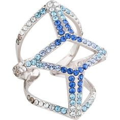 Pre-owned Eddie Borgo Pavé Edie Ring ($145) ❤ liked on Polyvore featuring jewelry, rings, cocktail rings, pave jewelry, blue ring, eddie borgo and pave ring