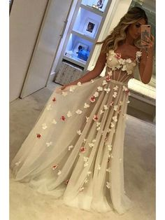 A-Line Sweetheart Long Prom Dresses Formal Evening Dresses with Flowers #mdresses #prom #promdress #eveningdresses #fashion #longpromdress