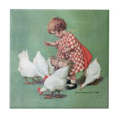 Vintage Girl Feeding Hens by Jessie Willcox Smith Ceramic Tile A little girl feeding chickens by Jessie Willcox Smith. Artwork designed by Vintage Illustration Oop North, United Kingdom