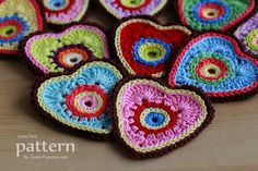 Crochet Pattern - Sweet Crochet Heart Ornaments (Appliques) - Pattern With Step-by-Step Picture Tutorial. $3.60, via Etsy.