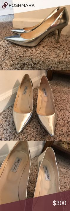 Jimmy Choo silver pumps size 11 Jimmy choo silver pumps with scuffs on the bottom sole. Other than that they are in great condition! Jimmy Choo Shoes Heels