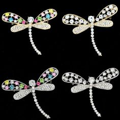 Lovely Dragonfly Brooch Clear Austrian Crystals Detailed Dragonfly