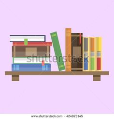 Book and Bookshelf flat vector. Home library.