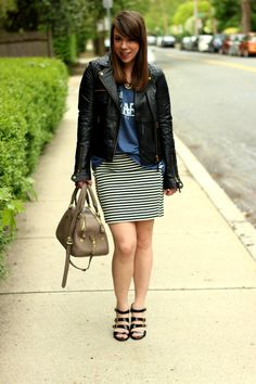 Love the skirt and leather jacket...From Blogger The Other Side of Gray