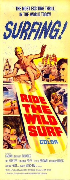 """RIDE THE WILD SURF 1964. ON DVD. Three surf bums make a pilgrimage from southern California to the north shore of Oahu, Hawaii for some wild surfing action. Surfers from all over the world gather here every winter to compete with each other for the title of """"the last ride"""" champion. Extensive surf footage of the Hawaiian Islands"""