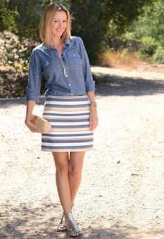 I like the top and the skirt. Would not wear those shoes. I would wear the top untucked.
