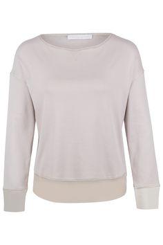 Fabiana Filippi Damen Longsleeve mit Meshdetails Beige | SAILERstyle Longsleeve, Sweatshirts, Sweaters, Fashion, Ponchos, Knit Jacket, Cotton, Gowns, Nice Asses