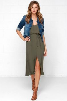 Glamorous One More Tie Olive Green Midi Dress 6ba931fb9