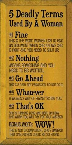 Men... please be wary... women can be decieving. haha these are pretty accurate, but not in all situations
