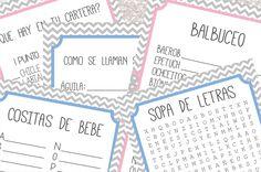 5 Juegos para Baby Shower Aqui te dejo un PDF imprimible con 5 divertidos juegospara Baby Shower. Sopa de Letras: la típica sopa de letras con palabras relacionadas a los bebés. Balbuceo: Ordena las letras para formar la palabra correcta. Cositas de Bebé: llena la lista con cosas relacionadas a losbebés, una por cada letra del abecedario. Qué hay en tu cartera?: Gana puntos si tienes las cosas mencionadas en tu cartera. Nombra el bebe Animal:Cuál es el nombre de cada cria de animal? 5…