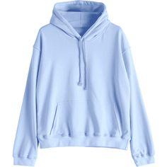 Casual Kangaroo Pocket Plain Hoodie ($32) ❤ liked on Polyvore featuring tops, hoodies, hooded pullover, light blue hoodie, sweatshirt hoodies, blue top and light blue hooded sweatshirt