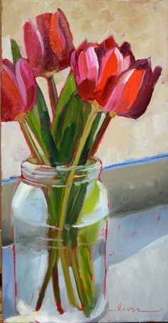 """Daily Paintworks - """"Loris Tulips"""" - Original Fine Art for Sale - © Martha Lever Acrylic Flowers, Abstract Flowers, Tulip Painting, Tulips In Vase, Beginner Painting, Fine Art Gallery, Art Pictures, Flower Art, Watercolor Art"""
