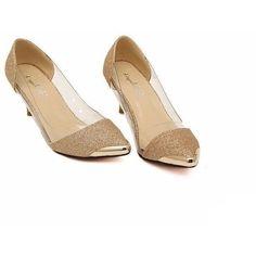 e3ec60121465 Glitter Leather Pointed Toe Women Shoes. Kitten HeelsHigh ...