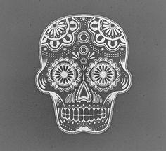Sugar Skull Illustration by Chris Spooner, via Behance Mandalas Painting, Mandalas Drawing, Sugar Skull Makeup, Sugar Skull Art, Sugar Skulls, Painting Tattoo, Body Painting, Doodle, Halloween Skull