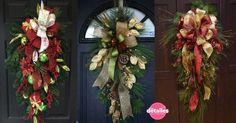 guirnaldas navideñas para puerta Christmas Swags, Christmas Holidays, Christmas Crafts, Christmas Decorations, Xmas, Holiday Decor, Christmas Ideas, All Things Christmas, Grapevine Wreath