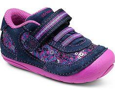 Stride Rite SRT SM Jazzy Sneaker in Navy/Purple - - Little Feet Childrens Shoes. #striderite #jazzy #purple #navy #sneaker #stafffavorite #sparkle #cutegirlshoes