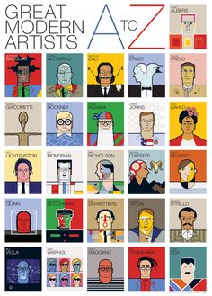Love the efficiency of an entire introduction to arts from A to Z in one poster #illustration #art