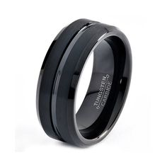 $57.77  Etsy listing at http://www.etsy.com/listing/151797696/black-tungsten-ring-black-men-tungsten
