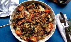 Mediterranean-style fish traybake