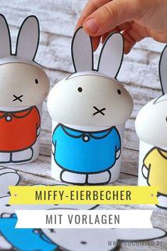 Süße Vorlagen zum Ausdrucken für Ostern. Eierbecher in MIffy-Form.  #miffy #eierbecher #ostern Diy Upcycling, Miffy, Easter Parade, Diy For Kids, Easter Eggs, Snoopy, Printables, Form, School