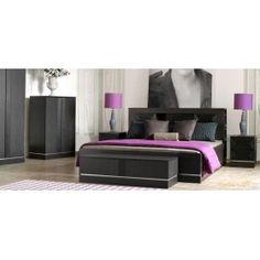 Black classic bedroom furniture: bed, commode, nightstand, cupboard. Черный спальный гарнитур Классик: кровать, прикроватные тумбы, комод и шкаф.