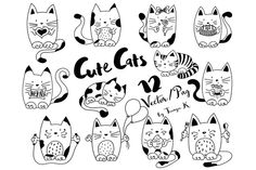 Cute Cats Hand-drawn Collection ~ Illustrations on Creative Market