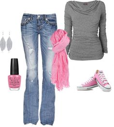 """""""Grey and Pink Casual"""" by stephaniescholle on Polyvore"""