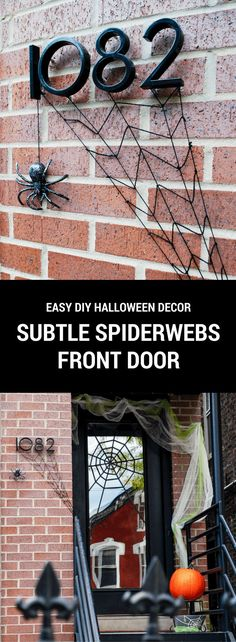 Subtle spiderwebs easy DIY Halloween front door decoration. Use yarn, glitter tape, cheesecloth and a plastic spider to lure in trick-or-treaters ...eek! #halloween #spon #spookyspaces