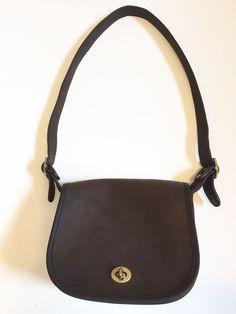 Vintage Coach Purse New York City NYC Brown Leather Saddle Bag Cashin Era  USA a1bbe42a465dc