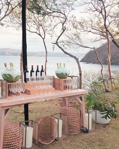 A wine setup with a view on the Event Lawn at the Four Seasons Costa Rica! Ein Weinsetup mit Blick auf den Eventrasen im Four Seasons Costa Rica! Beach Wedding Reception, Wedding Set Up, Beach Weddings, Wedding Ideas, Outdoor Weddings, Wedding Jobs, Wedding Crafts, Costa Rica, Wedding Alcohol