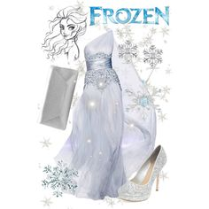 """Elsa"" formal gown by violetvd on Polyvore - Frozen"
