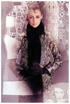 Catherine Pastrie in evening coat by Dior, in front of image of Jurisprudenc by Gustav Klimt, Paris, Vogue, 1965 Norman Parkinson