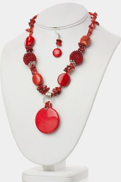 Stylish RED Necklace Earrings SET - $23.00