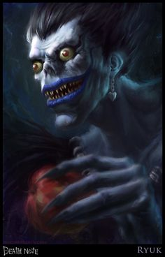 ✯Death Note- Ryuk by *Verehin*✯  I've never thought Ryuk that scary until I saw this. I'm a bit terrified of going to bed tonight now, it's those eyes o.o