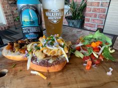 Walkerville Brewery Smooth Sail Summer Ale with Blue Cheese Burger Poutine. Blue Cheese Burgers, Essex County, Complete Recipe, Poutine, Simply Recipes, Wineries, Cheesesteak, Ground Beef, Brewery