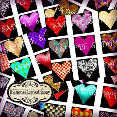 A fun and colorful great variety assortment of hearts are patterned in polka dots, damask, zebra print, swirls and curly ques, crackles, metallic color effect, prints, and more fun textures. #ValentinesDay #HeartsImages #DigitalCraft #ValentineDigitals