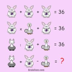 Brain teaser - Number And Math Puzzle - puzzle with animals for genius - New puzzle with animals contains these operations (+,-,x,:). There are three animals: bunny, ostrich and llama. Solve these equations and select numbers corresponding to animals. Math For Kids, Fun Math, Math Games, Math Activities, Math Resources, Brain Teaser Questions, Math Enrichment, Math Magic, Brain Teaser Puzzles