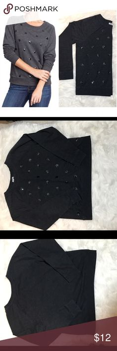 """♥️BOGO♥️Old Navy Sequin Polka Dot Sweater This is a super cute sweater/sweatshirt in good used condition!  All of the sequins are intact. Some slight piling from being washed. Dark heather black with black Sequin polka dots. Length measures 25"""".  Check the TOP of my closet for current promotions and SALES!!! Old Navy Sweaters Crew & Scoop Necks"""