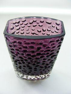 Whitefriars Glass Vase - Aubergine 'nailhead'