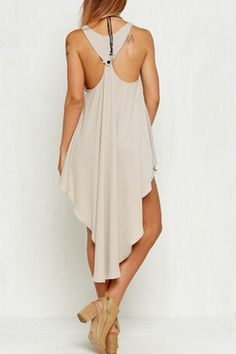 Charming Sleeveless Solid Color Asymmetric Ruffled Tank Top For Women