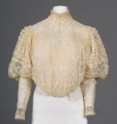 Day 20 already in this fashion history advent countdown and a snowflake of an early blouse in fine cream net that has been embroidered in a matching silk floss and trimmed with ribbons 1900s Fashion, Edwardian Fashion, Vintage Fashion, Edwardian Era, Victorian, Medieval Fashion, Historical Costume, Historical Clothing, Vintage Dresses