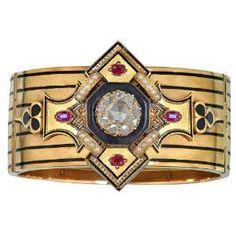bracelet gold, black enamel, rubies and diamonds. Napoleon III Era. by abigail