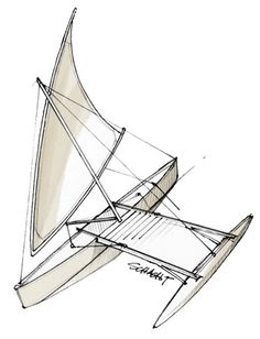 Shunting crab claw sail with spinnaker pole to assist in shunting.